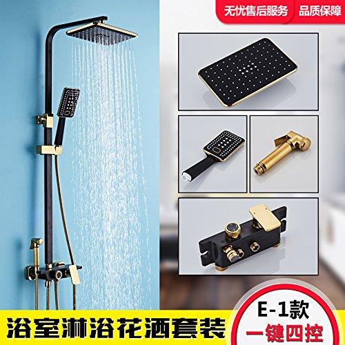Hlluya la doccia a pioggia set bagno doccia ad alta pressione testa a spruzzo oro nero vernice pieno di antiquariato di rame acqua fredda rubinetti, oro nero a quattro porte - barra quadra upgrade
