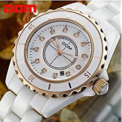 Watch Women Fashion Ceramic Gold Quartz Watches DOM Crystal Wristwatches Dive 200m Luxury Brand Top Watch Relogio Feminino