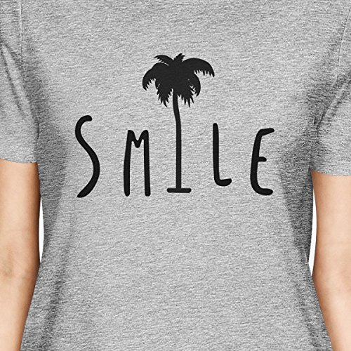 365 Printing - Top - Maniche corte  - Donna Smile Palm Tree Grey Shirt