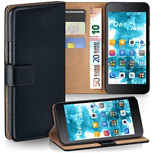 moex Huawei Honor 6 Plus | Hülle Schwarz mit Karten-Fach 360° Book Klapp-Hülle Handytasche Kunst-Leder Handyhülle für Honor 6 Plus Case Flip Cover Schutzhülle Tasche