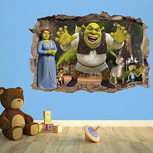 Wall Decor 247 Pegatina 3D para Pared de niños de Shrek, para Dormitorio de niños (50 cm de Ancho x 35 cm de Alto) 1