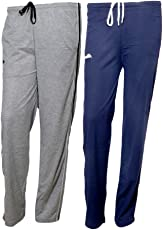 Indistar Women Premium Cotton Lower with 1 Zipper Pocket and 1 Open Pocket(Pack of 2)_Grey::Blue-42