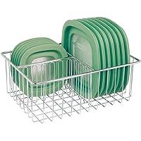 mDesign boite de rangement – panier de rangement avec 3 compartiments pour la cuisine – panier en métal pour éponges et…