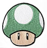 Grün Pilz 1Up Patch Embroidered Iron on Badge Aufnäher Kostüm Mario Kart/SNES/Mario World/Super Mario Brothers/Mario All Stars Cosplay