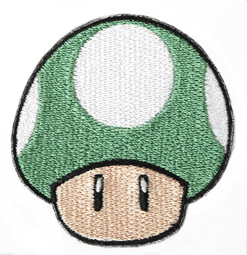 Mario Brothers Kostüm Toad - Grün Pilz 1Up Patch Embroidered Iron on Badge Aufnäher Kostüm Mario Kart/SNES/Mario World/Super Mario Brothers/Mario All Stars Cosplay