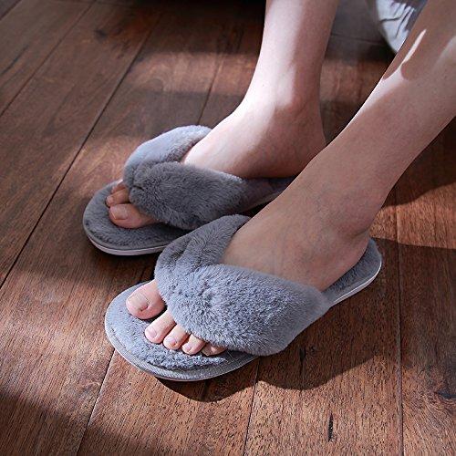 Doghaccd Pantoufles, Automne Hiver Maison Broches Clips Pantoufles Moelleuses Femmes Salon Intérieur Anti-dérapant Coton Hiver Pantoufles Couples Épais Mâle Grey2