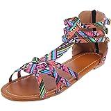 veyikdg - Sandali da donna con punta aperta, da donna, stile bohémien, stile nazionale, con cerniera, alla caviglia, punta ro