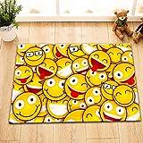 Alfombrilla de Baño Ultra Suave Antideslizante 60X40cm Cara amarilla del emoji Estera alfombra Para la decoración de la cocina del cuarto de baño