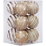 """Adornos de bolas para árbol de Navidad inastillables de Sea Team, 75 mm, de espuma plástica, con brillantina y delicados patrones de encaje, juego de 12 unidades, plástico, dorado, 75mm/2.95"""""""