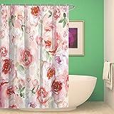 KISY Pink Roses Wasserdicht Bad Duschvorhang Watercolor Elegante Mädchen Wie Blumen Badezimmer Dusche Vorhang Standard Größe 177,8x 177,8cm Pink