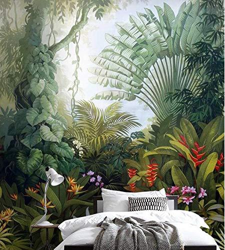 Tapete mittelalterliche handgemalte tropische Regenwaldanlage Landschaftshintergrundwand, 400cm * 280cm
