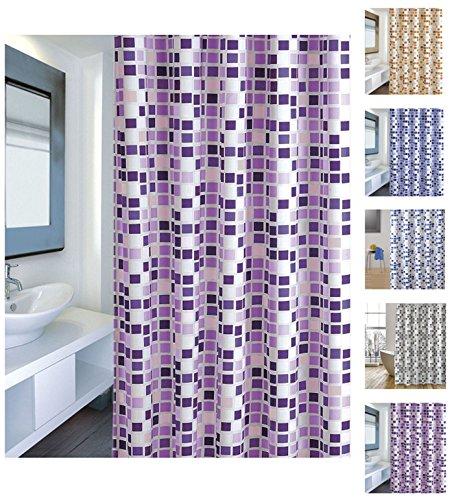Cotexsa by MSV 142101 Anti-Schimmel Textil Duschvorhang - Anti-Bakteriell mit 12 Duschvorhangringen