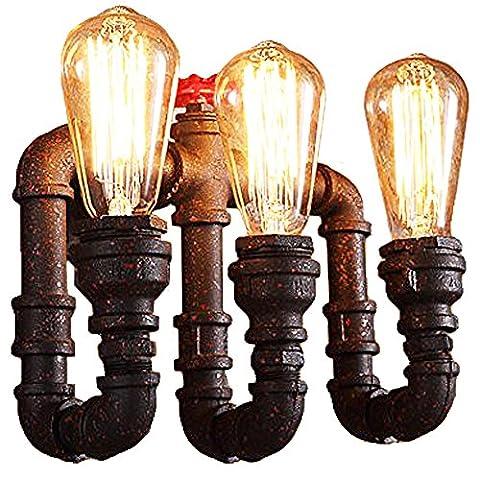 Trellonics® Vintage Industrial Rustic Steampunk Designer Wall Lighting Water Pipe 3 X E27 Screw Light Bulb/Lamp