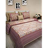 Vihaan Fab India Double Bedsheet Pure Cotton Rajasthani/Jaipuri Printed With 2 Pillow Covers,Size-(90 X 108 Inch) |Multicolor