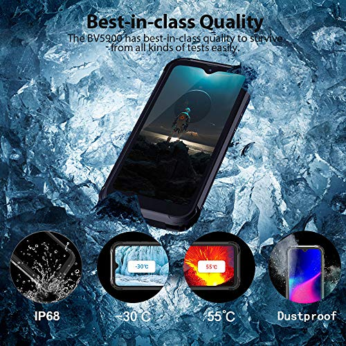 Blackview BV5900 4G Telephone Portable Incassable Debloqué Android 9.0 - Smartphone Résistant Etanche Antichoc extérieur Écran Full HD+ 5.7 Pouces, 3GO + 32GO, Batterie 5580mAh, 13MP + 5MP, Type-C/NFC