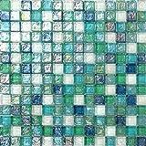 Glas Mosaik Fliesen Matte in Grün, Blau, Weiß und mit violettem Perlmutt Schimmer gehammertes Glas (MT0052)