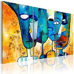 murando handgemalte bilder auf leinwand fig rlich triptychon 135x90 cm 3 teilig 100 unikat. Black Bedroom Furniture Sets. Home Design Ideas