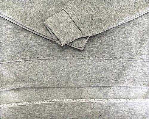 Donna Calda Autunno Inverno E Tasche Sweatshirt+Pantaloni Sportiva Pullover Ragazze Jogging Grigio