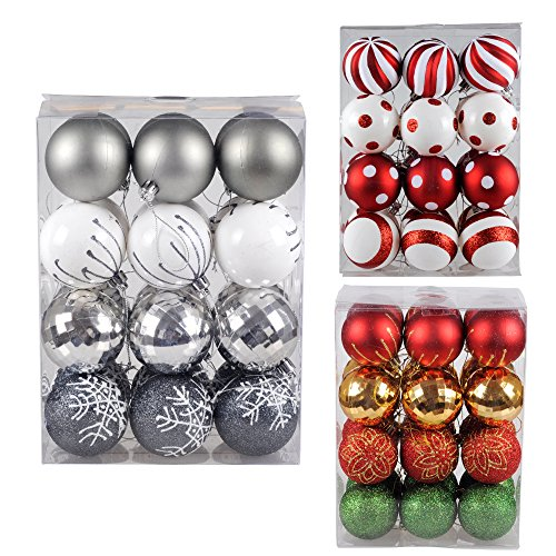 KI Store Shatterproof Christmas Tree Baubles Decorations Exquisite Party Balls Ornaments 24 pcs by Art Beauty (60mm, White Silver and Grey)