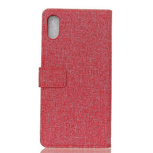 EKINHUI Case Cover Solid Color Tuch Weberei Texture PU Ledertasche Cover Horizontale Flip Stand Case mit Kickstand & Card Slots für iPhone X ( Color : Blue ) Red