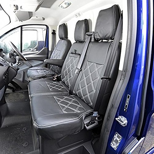 HEAVY DUTY TAILORED 2+1 BLACK VAN SEAT COVERS for FORD TRANSIT CUSTOM 2013/>