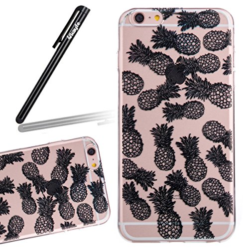 Coque Housse Etui pour iPhone 6S Plus, iPhone 6 Plus Coque en Silicone, iPhone 6 Plus/ 6S Plus Slim Coque Transparent Soft Etui Housse,iPhone 6 Plus/ 6S Plus Silicone Case TPU Protective Gel Cover Ski ananas
