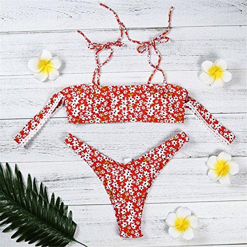 Italily -Bikini Donna,Costume da bagno bikini senza spalline stampato senza spalline,Costumi da bagno donna Push-Up imbottiti con stampa fasciatura Red