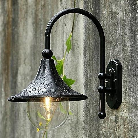 Applique murale extérieure E27 IP55 Extérieur Intérieur Lumières de salon Lampes de chevet Lampes de balcon Lumières de l'allée Lampes de jardin Applique rondelle de mur ( Couleur : Noir )