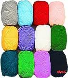 #5: Vardhman Bunny 12 pc combo Wool ball hand knitting yarn / art craft soft fingering crochet hook yarn, needle knitting yarn thread dyed