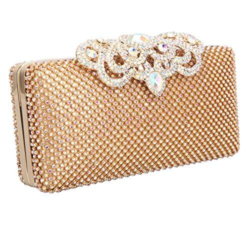 Bonjanvye Glitter Crown Clutch Purse Bling Crystal Rhinestone Bag Black AB Gold