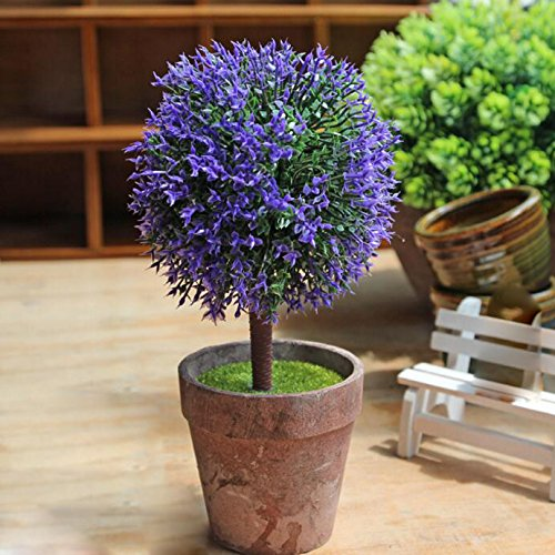 Flikool Creative Artificial Potted Plant Flower Faux Green Grass Fake Bonsai Greenery Simulation Plastic Plant Tree Decoration With Clay Pot Indoor Outdoor Hanging Planter Wedding Balcony Decor Purple Buy Online In
