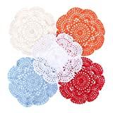 Hergon Posavasos de 20 cm, diseño de flores de crochet con encaje, estilo vintage, algodón hecho a mano
