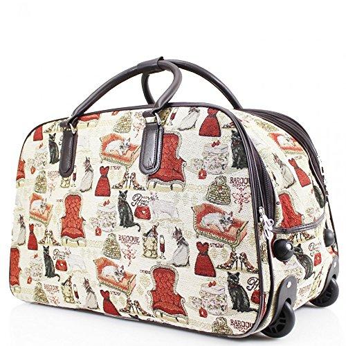 LeahWard® Damen Reise Reisetasche Wagen Gepäck Tasche mit Rads CW0036 CW0037 CW0038 CW0039 CW0040 Dress Und Chair H:38cm W:55cm D:30cm
