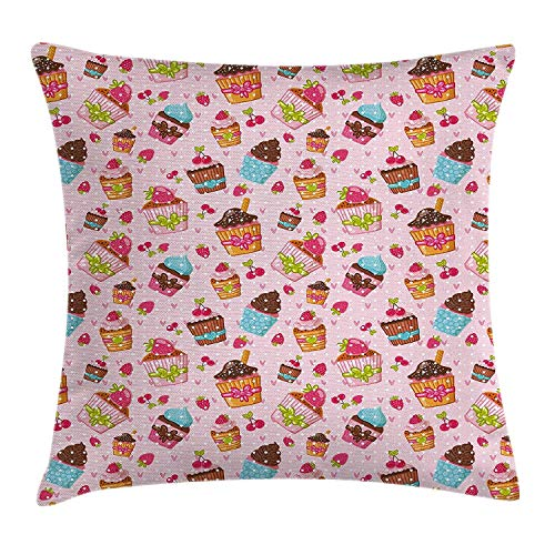 (CHSUNHEY Kopfkissenbezüge,Pink Decorations for Kitchen Cupcakes Muffins Strawberries and Cherries Imagine,Home Decorative Square for Sofa Throw Pillow Case 18