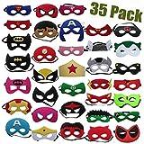 Maschere di Supereroi 35 pezzi, Maschere Feltro Superhero Mask con Corda Elastica, Supereroi Maschere Cosplay Maschere P