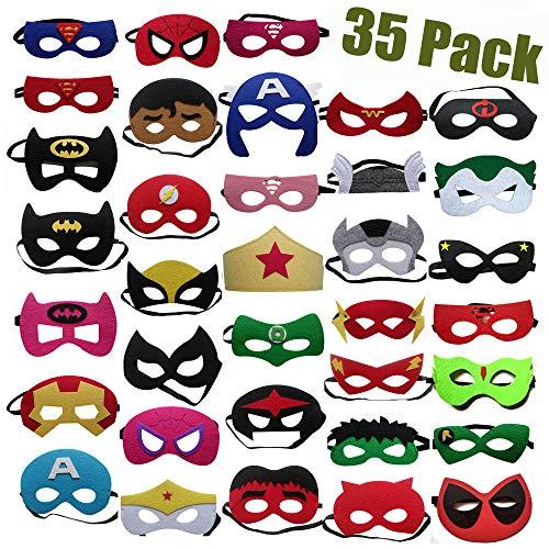35 Piezas Máscaras de Superhéroe, Accesorio de Fiesta Infantil y Adultos, Máscaras de Cosplay de Superhéroe, Suministros de Fiesta de Superhéroes 1