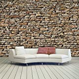 murimage Papier Peint Mur Pierre Optique 3D 366 x 254 cm Photo Mural American Stones Rustique Brique séjour Chambre Wallpaper Colle Inclus