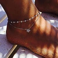 simsly spiaggia cuore cavigliera braccialetto alla caviglia doppio strass gioielli piede per donne e ragazze (argento…