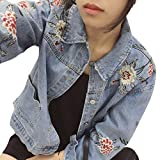Damen Klassisch Jeansjacke Langarm Single Breasted Denim Jacken Mantel Blau XL