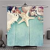 Duschvorhang 235563844Konzept der Summer Time mit Fisch Star und Muscheln auf der Holz blau Polyester-Hintergrund-Bad Vorhang