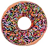 Close Up Donut Sprinkles Kissen aus Polyester (36cm Durchmesser) / Kuschelkissen in Donut-Form