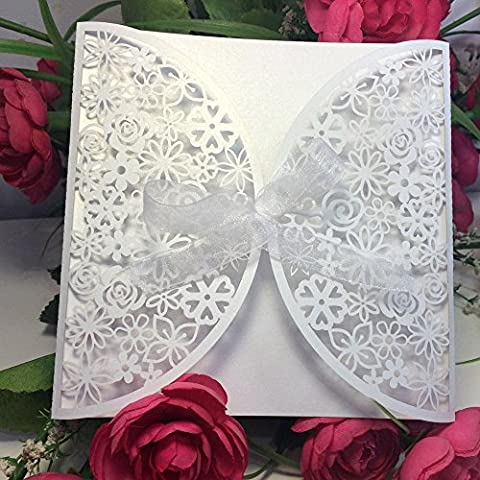 Anself 10Pcs Romantic White Wedding Party Invitation Card Delicate Carved Flowers