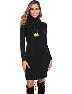 Hawiton Womens Jumper Dress Cable Twist Long Sleeve Sweater Dress Crew Neck A-line Knitted Dress Pullover