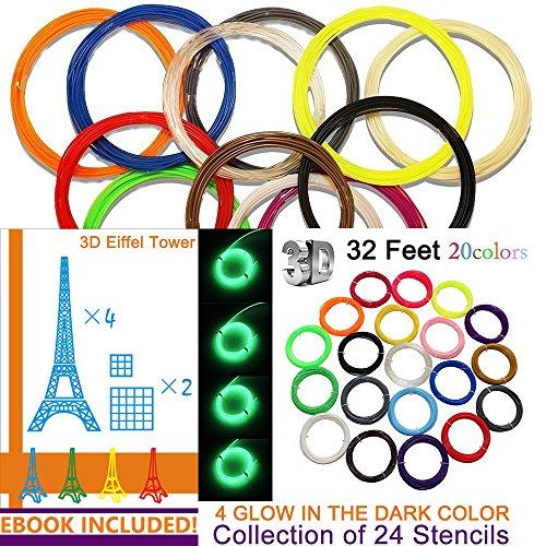 kuman-3d-printer-pen-filament-refills-pla-175mm-filament-fun-sampler-pack-of-20-different-colors-in-