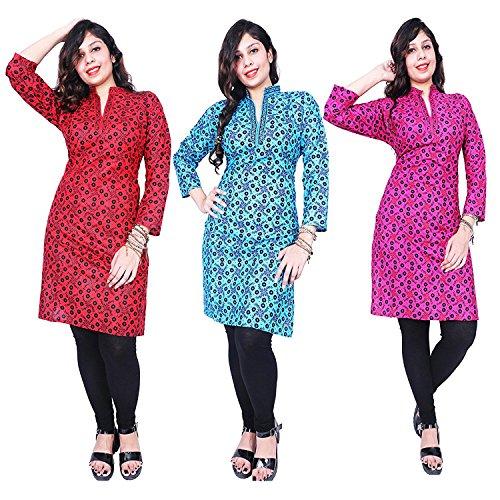 Thari Choice Designer Printed Party wear Cotton Combo Kurti For Women (Ready...