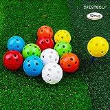 Pallone da Golf in plastica a Flusso d'Aria Misto Colore crestolf 40mm, Confezione da 12 Pezzi, Sei Colori a Scelta, Ottimo Anche per i Tuoi Animali Domestici(Mixed)