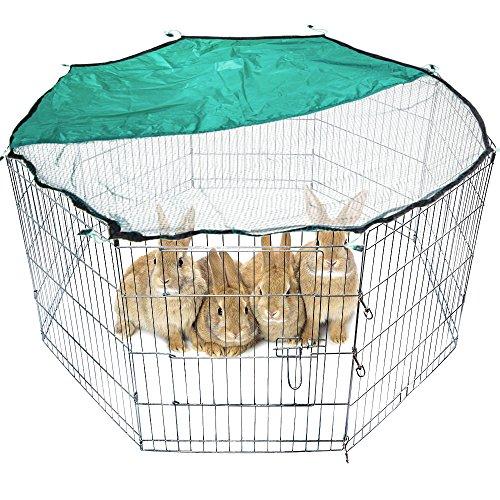 MCTECH® 8-tlg Freilaufgehege Kaninchen Tierlaufstal Welpenauslauf Freigehege Welpenfreigehege Laufstall für Kleintiere (61x61cm mit Netz)