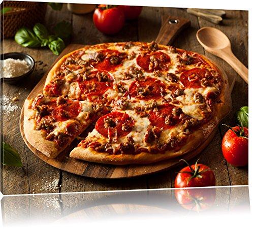 zza Pizza Hawai Format: 100x70 cm auf Leinwand, XXL riesige Bilder fertig gerahmt mit Keilrahmen, Kunstdruck auf Wandbild mit Rahmen, günstiger als Gemälde oder Ölbild, kein Poster oder Plakat ()