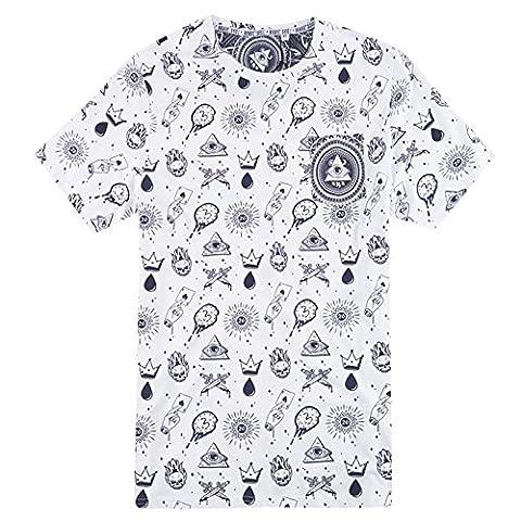 Hommes Brave Soul Tatiana Mauvais Œil Imprimé T Shirt T-shirt Manches Courtes Haut - Blanc - Marine, Medium - Torse 96cm-101cm