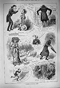 Old Antique Print 1884 Humourous Story Police Man Umbrella Lady Dogs 093G275